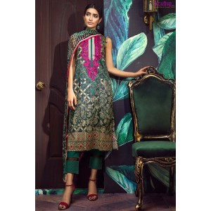 Khaadi Three Piece Embroidered Lawn Dress with Shiffon Duppata