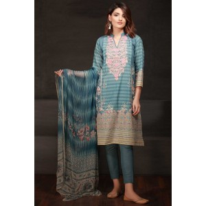 Khaadi Three Piece Embroidered Dress with Lawn Duppata