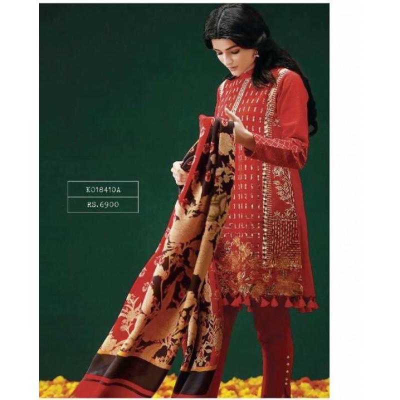 Khaadi 0000red405 3-Piece suite in Khaddar stuff with full embroidery