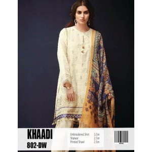 Khaadi 0000802 2  Piece suite in Marina stuff with full embroidery Yellowish