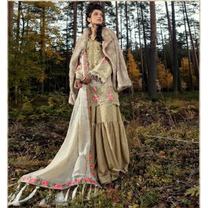Maria B  3-piece Khaddar Fully embroidered Unstiched Suit with Wool Shawl